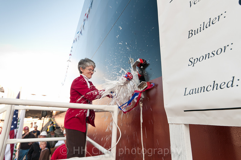 Kate Garman christening a Gunderson barge.
