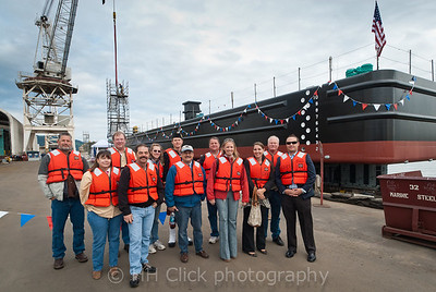"""Passengers"" of the soon-to-be launched Gunderson barge, Heidi Renee"