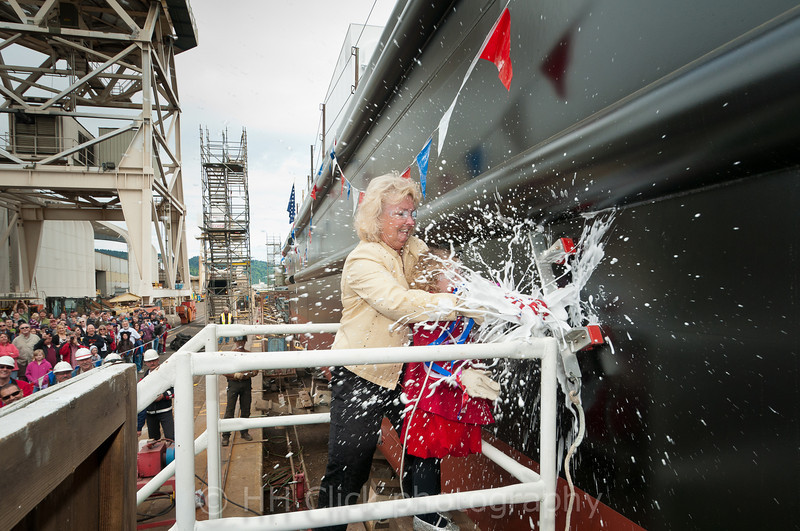 Christening the Gunderson-built barge, Heidi Renee