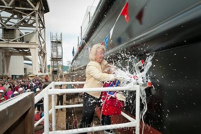 Christening the Gunderson-built barge, Heidi Renee