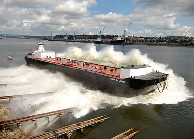 Launch of the barge, Dugan Pearsall at Gunderson Marine.