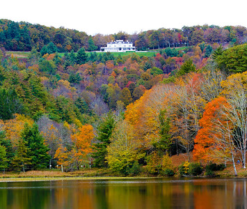 manor and bass lake with colors