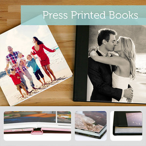 Press Printed Books  Press Printed Books are available in four paper options, standard, semi-gloss hinged, satin hinged with lustre coating and pearl hinged, and several sizes including 5x5, 5x7, 8.5x11, 8x8, 8x12, 10x10, 12x12 and 11x14.