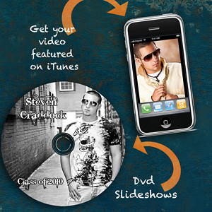 DVD slideshows and iTunes Podcast Your session in high-def! DVD slideshows from your session, need I say more? Also, you can be featured in the iTunes store with your very own video. Download your show to your iTouch or any other video capable mp3 player!