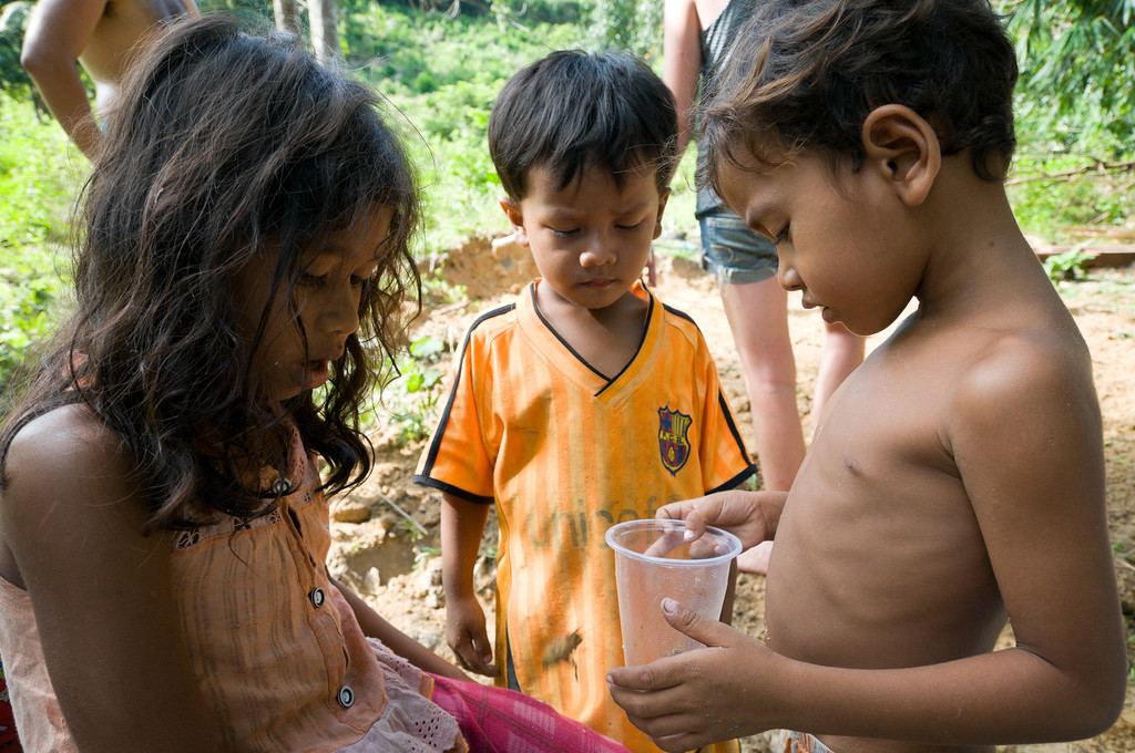 Village children capture and store crickets, after ripping their back legs off to prevent escape, in a plastic cup to eat later. Meals always include rice and generally a boiled vegetable, usually potato or morning glory. There are also a number of chickens in the village, and access to fresh fruit is determined by the ferry's schedule.