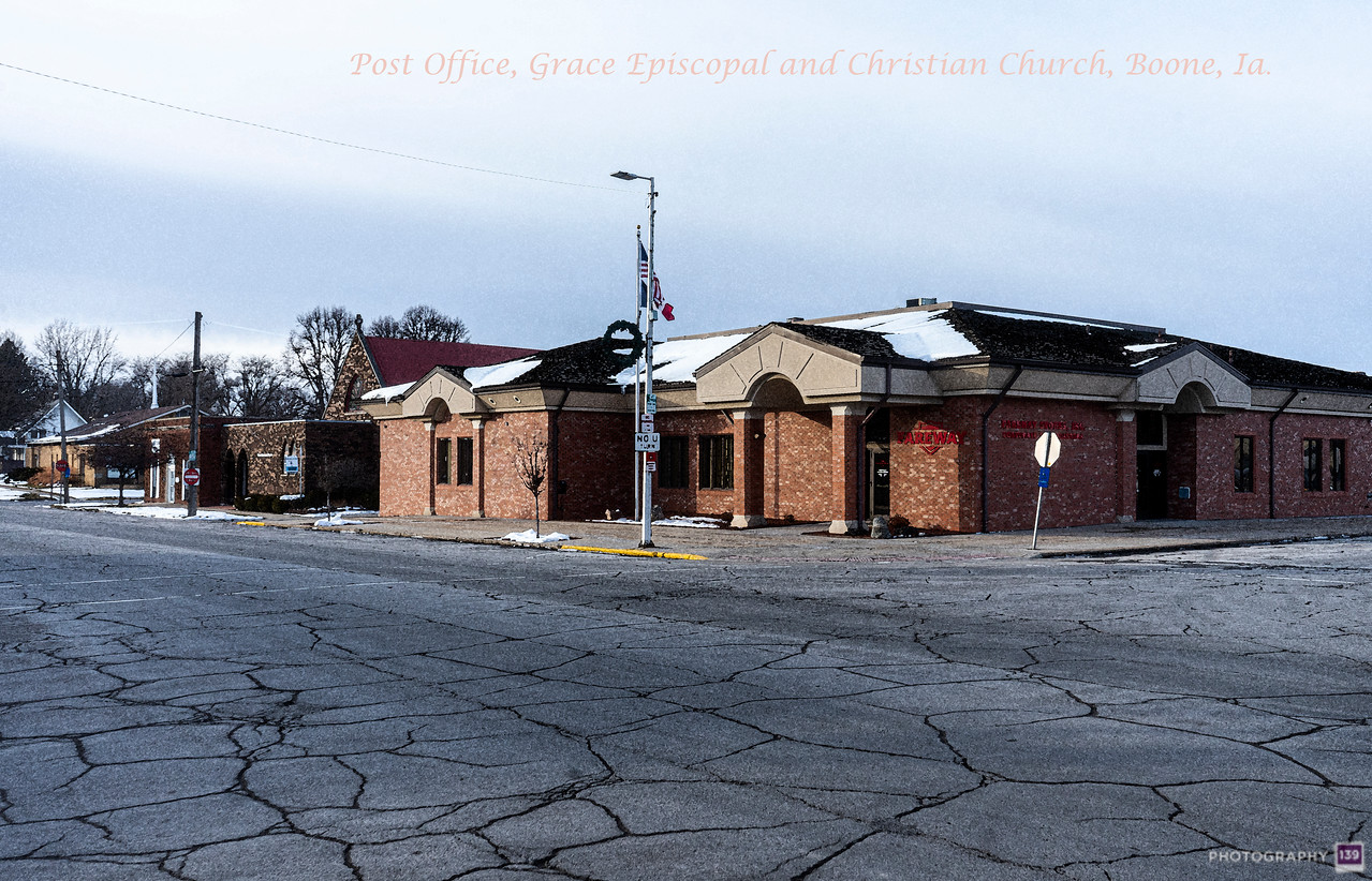 Post Office, Grace Episcopal and Christian Church, Boone, Ia - Redux