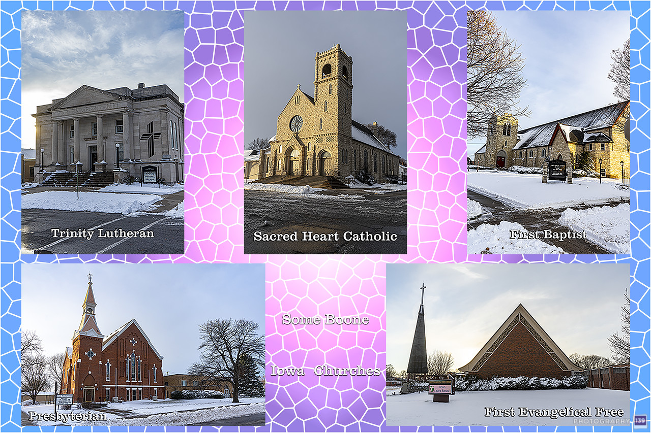 Some Boone Iowa Churches - Modern Interpretation Take 2