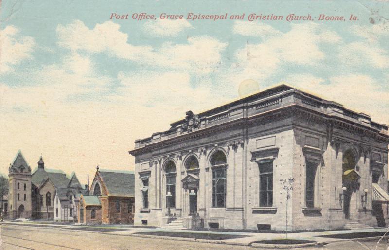 Post Office, Grace Episcopal and Christian Church, Boone, Ia - Original