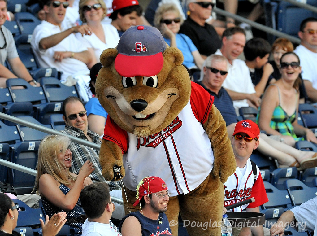 Picture for the week of 6/7 - 6/13.<br /> <br /> Chopper (the mascot for the Gwinnett Braves) keeps the attitude of the fans light by covering a fan of the opposing team with Silly String while the Braves fans cheer him on.<br /> <br /> Shot with D700; 300mm f/2.8 AF-S II w/TC-14E II attached<br /> 420mm; 1/2500s; f/4.5; ISO 2000