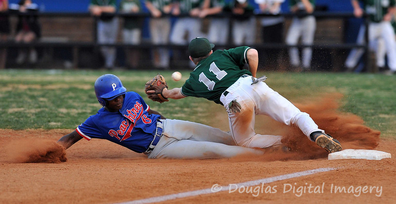 Picture for week 3/8 - 3/14<br /> <br /> This was taken at the 9th Grade Baseball game for Peachtree Ridge High School.  The runner was safe at 3rd as he beat the throw.  <br /> <br /> Shot with D700 and 300 f/2.8 AF-S II <br /> 300mm; 1/800s and f/3.5 and ISO 1250.
