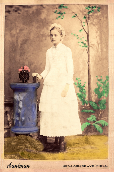 Late 1800s  Studio Photograph of a Young Girl - After  Restoration