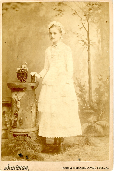 Late 1800s  Studio Photograph of a Young Girl - Before Restoration