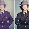 Trooper Topper Photo Restoration: Back in the 1970s Susan Topper made history by becoming Maryland's very first female State Trooper. The photo on the left above was the first photo taken of Susan in her Maryland State Police uniform. The photo has faded with age, so Susan asked me to correct the photo for fading and to resize it for framing. The fade corrected image is shown on the right above.