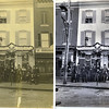 This photo from the early 1900s shows the gang from a Baltimore tavern owned by one of my wife's ancestors. My wife's grandmother is one of the young girls seen in the upstairs window. The original photo, shown on the left above, was faded and yellowed, had numerous scratches and stains and had had the lower right corner torn off and then taped back on. The image on the right above shows my restoration of the photo.