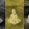 Baby in the Bowl Restoration & Colorization: The original photo, shown in the center panel above, dates from the early 1900s and has become brittle with age. It  is yellowed, faded and littered with stains, scratches, cracks and flaking emulsion. The panel on the left above shows the digital restoration result after fade and color correction and cleanup of the photo's multitude of localized defects by application of spatial interpolation and targeted image cloning processes.  The image on the right above shows the result of a selective colorization of the restored image.