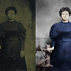 Tintype Photo Restoration Example 2: The subject of this restoration is a tintype photo from the early 1920's of my grandmother when she was a young woman. The restoration effort involved scratch and stain removal via cloning and local interpolation methods, brightening the image, and application of edge preserving convolution filters to remove grainyness in the image and to enhance wanted details. The image was then selectively colorized to complete the restoration process.