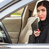Emarati Arab Business woman in the car in Dubai, United Arab Emirates.