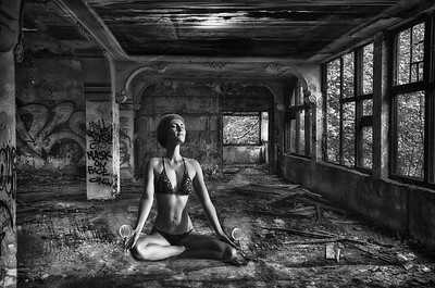 Meditating Girl in Black & White