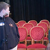 Record-Eagle/Douglas Tesner<br /> <br /> Spelling his word correctly, Chris Rice looks back at Austin Spires who knows he has just been beaten during the 27th Annual Grand Traverse Regional Spelling Bee at the City Opera House. Both Rice and Spires are from Antrim County.  The Spelling Bee was sponsored by the Record-Eagle, Merriam-Webster and Andrew Kan Travel Service Inc.