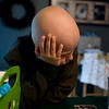 Record-Eagle/Jan-Michael Stump<br /> <br /> Thomas Swartzmiller procrastinates while taking his morning medications. The 8-year-old was being treated for Hodgkins Lymphoma in Grand Rapids, while still attending classes at Norris Elementary. He's since been declared cancer-free.