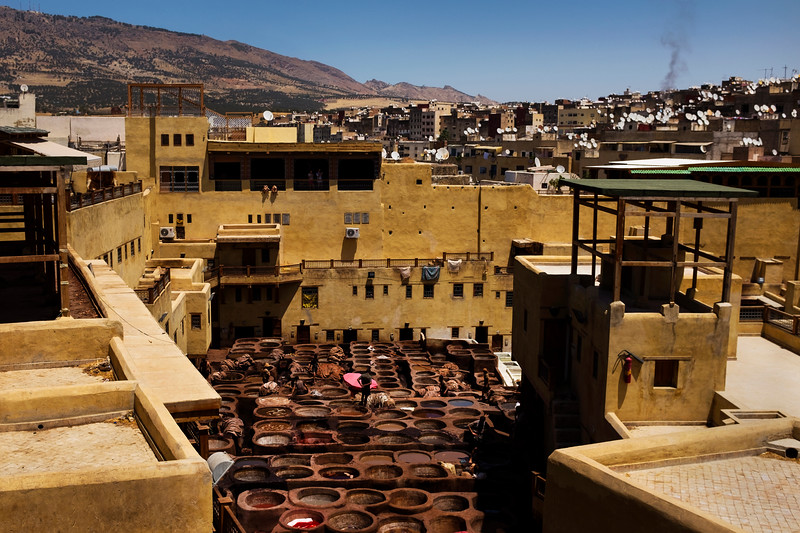 A general view of the Chouara tannery from a surrounding leather shop in the Medina in Fes, Morocco.