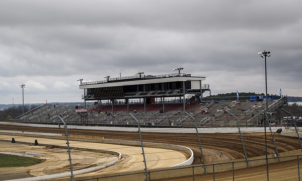 The Mansfield grandstands await its occupants on a chilly April afternoon.