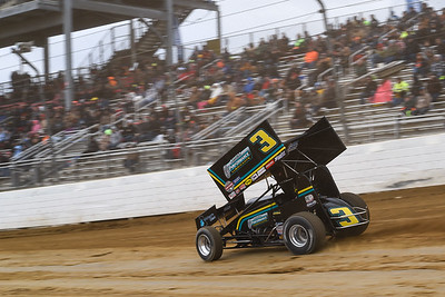 'Slammin' Sammy Swindell on the gas down the front stretch.