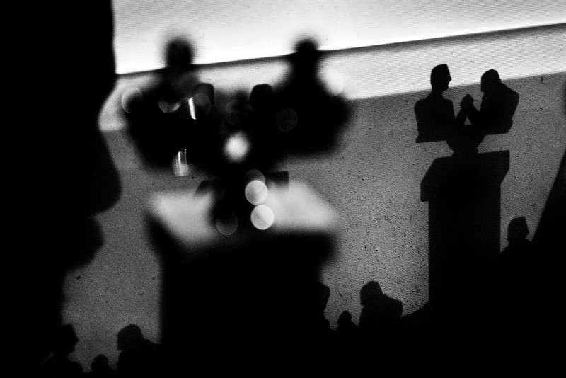The trophies cast a shadow during the Maine State Championship arm wrestling tournament in South Portland, Maine.