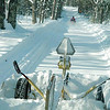 Special to the Record-Eagle/Carol South<br /> A snowmobiler hits the trail just after grooming.