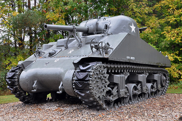 """Record-Eagle/Vanessa McCray<br /> <br /> A tank on the side of the road near Ellsworth is one of the unusual attractions along """"The Breezeway,"""" or C-48."""