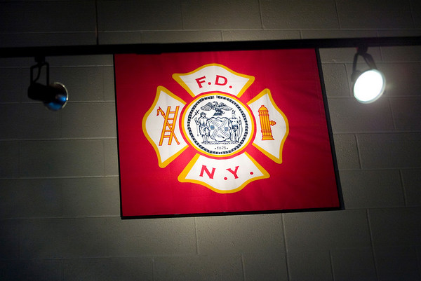 Record-Eagle/Jan-Michael Stump<br /> A flag given to the department by the New York Fire Department after a 9/11 exchange program sits prominently in the lounge of Traverse City Fire Department's Station 2.