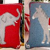 Record-Eagle/Vanessa McCray<br /> Throw pillows, not mud. Let your couch act as pundit with these elephant and donkey pillows ($78 from Stewart-Zacks in downtown Traverse City).