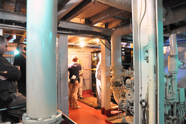 Record-Eagle/Vanessa McCray<br /> <br /> Cast and crew prepare to shoot a scene in the dark and cramped quarters of the engine room on board the S.S. City of Milwaukee.