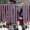 Record-Eagle/Garret Leiva<br /> Players receive individual gold, silver and bronze medals at the fourth annual Grand Traverse Hockey Association Skillympics held Saturday at Centre ICE. Skillympics events tested balance, agility, foot speed and hand-eye coordination.