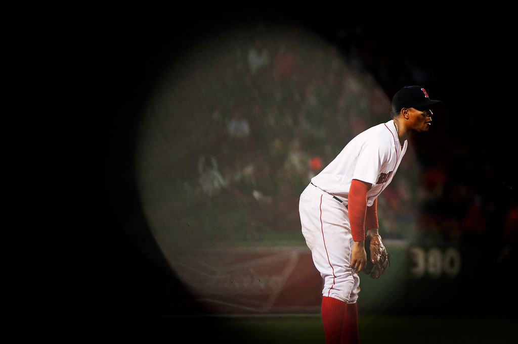 Xander Bogaerts is seen at shortstop during the game against the Tampa Bay Rays on Sept. 21, 2015.