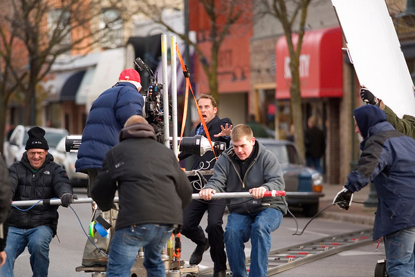 Record-Eagle/Jan-Michael Stump<br /> Crews push a camera on a dolly to film a scene with actor Josh Lucas on East Front Street.