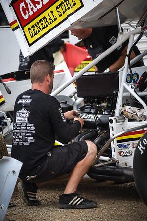 Brian Brown Racing crew chief Chad Morgan works on the Charlie Garrett powerplant.