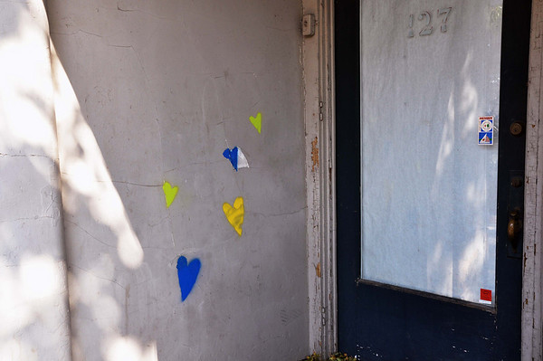 Record-Eagle/Vanessa McCray<br /> Hearts adorn the entry way of a building on Union Street in downtown Traverse City.