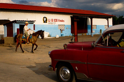 Horses are used as a means of transportation in Viñales, Cuba where crops such as tobacco, coffee, potatoes and pineapples are some of the most important parts of the economy.