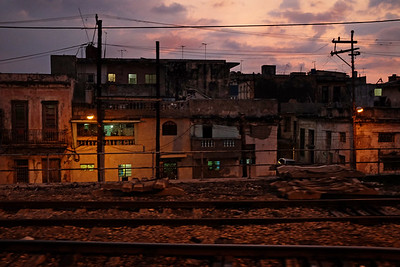 The sun sets on Havana as the train leaves the city on March 20, 2015.