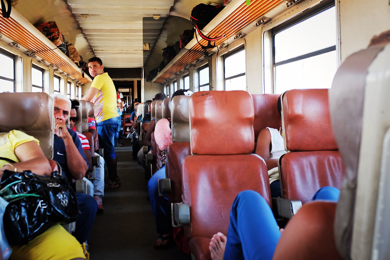 The inside of one of the mismatched train cars during the journey to Santiago de Cuba