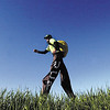 Record-Eagle/Tyler Sipe<br /> Neil Sauter briskly walks on 3-foot-tall stilts along the shoulder of M-37 near Buckley.