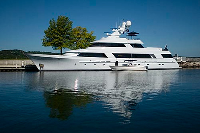 Record-Eagle/Jan-Michael Stump<br /> The CV-9, a 131-foot yacht, was docked in the Clinch Park Marina last week during a tour of the Great Lakes.