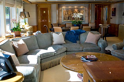 Record-Eagle/Jan-Michael Stump<br /> The salon and dining area aboard the CV-9. The ship is available for charter at $75,000 per week.
