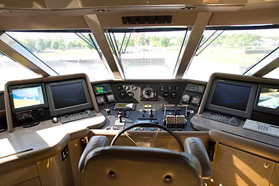 Record-Eagle/Jan-Michael Stump<br /> The bridge of the CV-9 features the latest in navigational equipment and security cameras. The yacht cruises at 12 knots and has a range of 3,600 nautical miles.