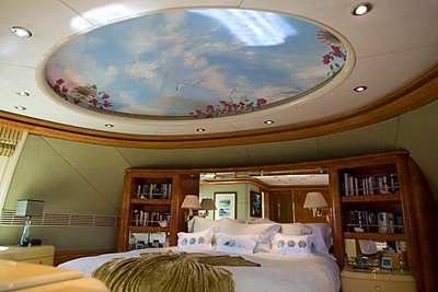 Record-Eagle/Jan-Michael Stump<br /> The master stateroom is one of five staterooms on the yacht. The ship can carry 10 guests with a crew of eight.