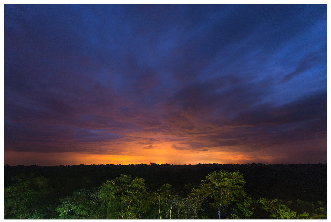 Blue hour mixes with sunset in the Amazon, Ecuador.