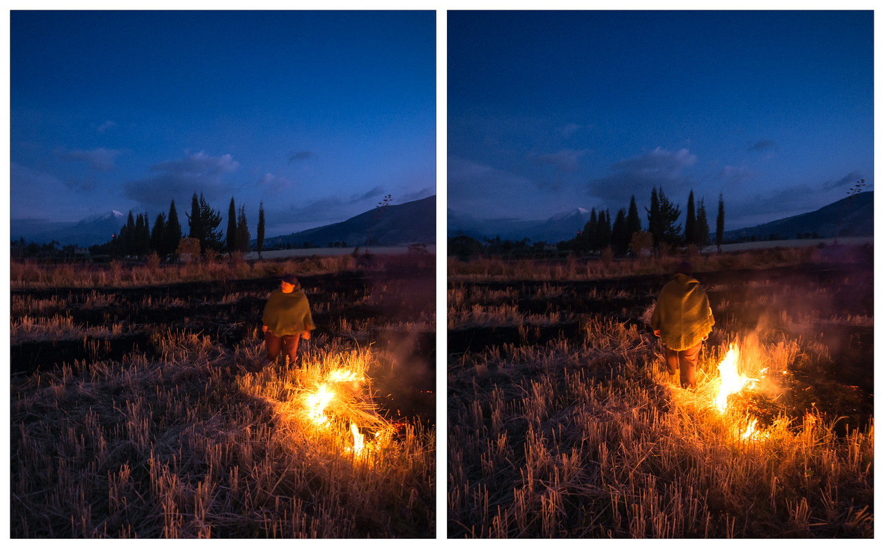 A diptych of photos showing an Ecuadorian woman tending burning her straw field in the Andes.