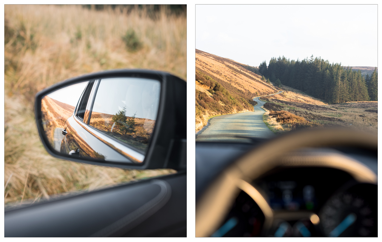 A diptych of Welsh forest landscape scenes shot from inside a Ford Kuga Vignale.
