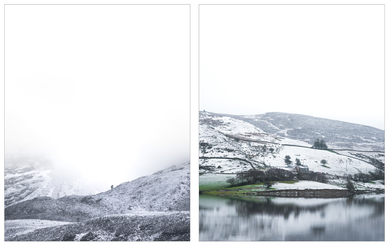 A diptych of of snowy landscape shots from north Wales.